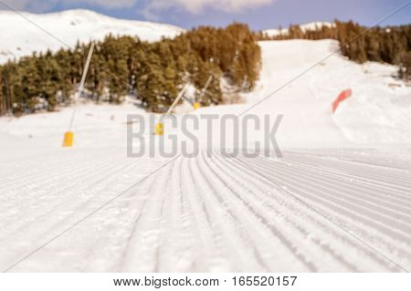 ski slope in the caucasian mountains on winter