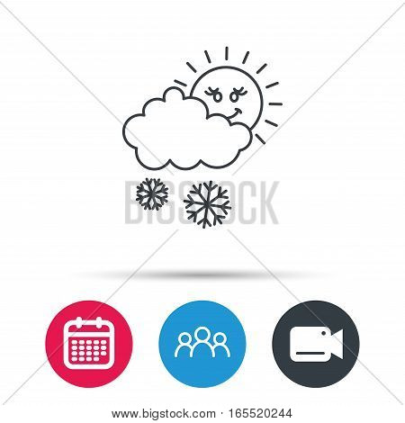 Snow with sun icon. Snowflakes with cloud sign. Snowy overcast symbol. Group of people, video cam and calendar icons. Vector