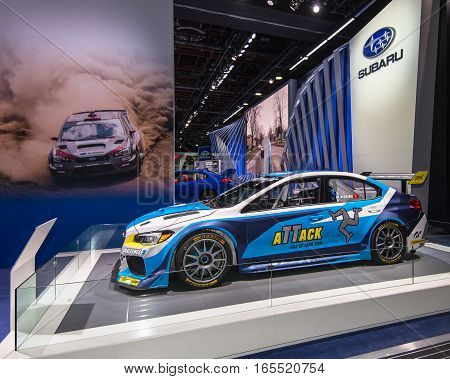 DETROIT MI/USA - JANUARY 9 2017: The 2016 Subaru WRX STI Time Attack race car at the North American International Auto Show (NAIAS). Driver: Mark Higgins Builder: Prodrive Track Record: Isle of Man Snaefell Mountain Course