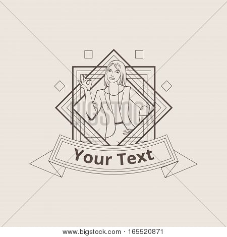 Vector illustration with beautiful asian woman showing ok sign badge or logo template