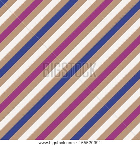 Seamless geometric pattern. Stripy texture for neck tie. Diagonal contrast strip background. White, blue, violet, pale orange colors. Vector