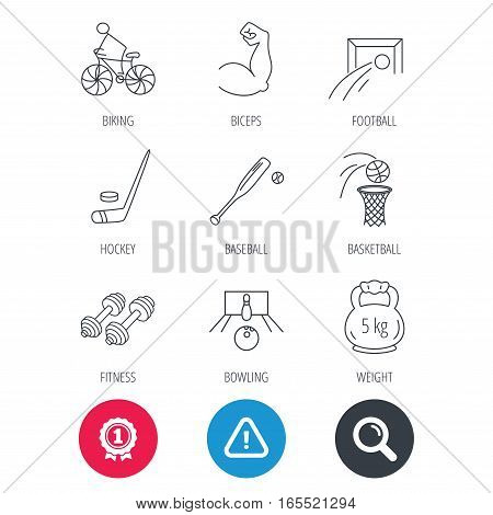 Achievement and search magnifier signs. Ice hockey, football and basketball icons. Fitness sport, baseball and bowling linear signs. Biking, weightlifting icons. Hazard attention icon. Vector