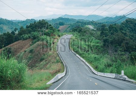Beautiful road 1081 in Nan province of Thailand in vintage tone