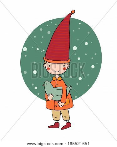 Cute little gnome and bird. vector illustration on a white background. Funny elves.