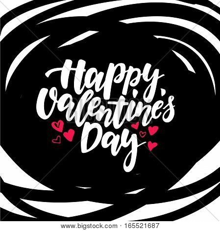 Happy Valentine s Day vector lettering . Isolated handwriting calligraphy love quotes and inscriptions. Modern romantic design elements for holiday card, gift tag, banner, poster, postcard