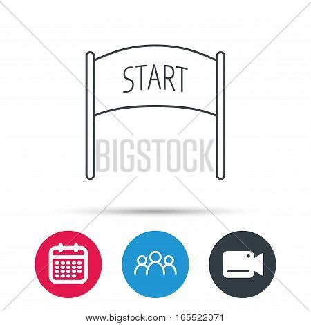 Start banner icon. Marathon checkpoint sign. Group of people, video cam and calendar icons. Vector