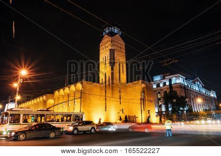 Town hall of Yerevan at night lights. Armenian landmark. Yerevan Armenia