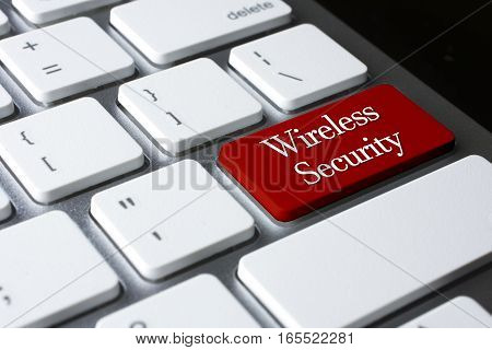 Privacy concept: Wireless Security on white keyboard