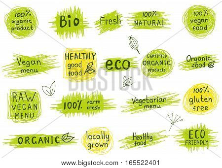 Collection of 100% organic natural biofarm gluten free raw eco healthy food labels. Retro badges for vegan cafe restaurant menu products packaging. Hand drawn vector logo templates.