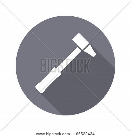 Hammer icon. Repair tool symbol. Round circle flat sign with long shadow. Vector