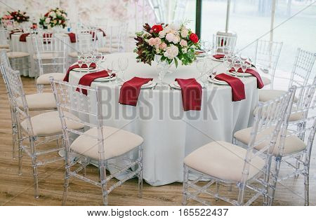 Wedding table decorated with flowers. Wedding decor