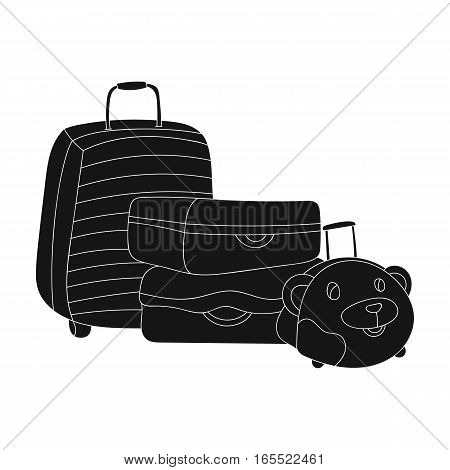 Luggage icon in black design isolated on white background. Family holiday symbol stock vector illustration.
