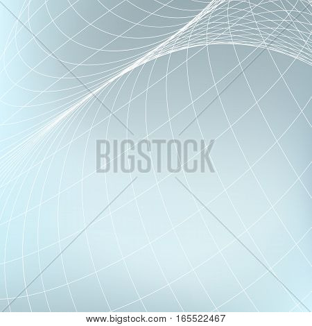 Abstract geometric background. Curves diverging fine lines in perspective. Modern technology