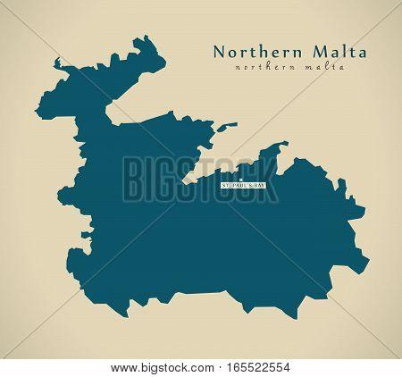 Modern Map - Northern Malta Mt Illustration