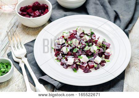 Roasted beet feta parsley salad. toning. selective focus