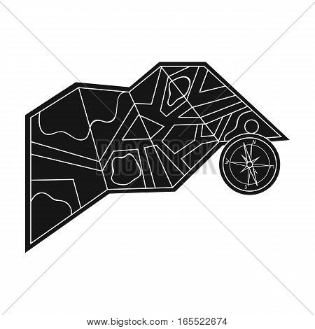 Travel map and compass icon in black design isolated on white background. Family holiday symbol stock vector illustration.