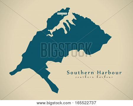 Modern Map - Southern Harbour Mt Illustration