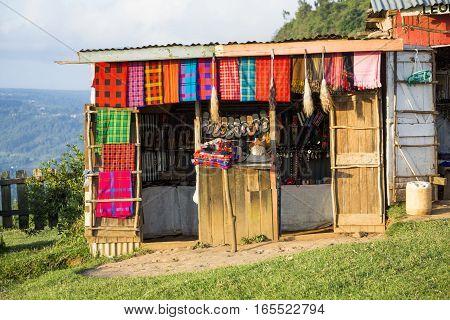 Souvenir shop with maasai art Kenya East Africa