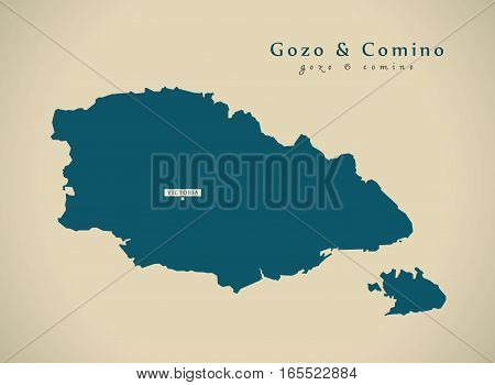 Modern Map - Gozo And Comino Malta Mt Illustration