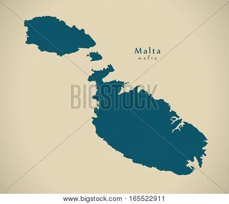 Modern Map - Malta MT illustration silhouette