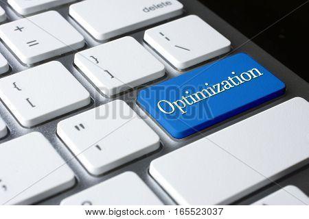 Optimization word on blue color enter keyboard