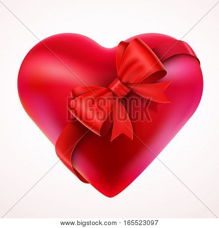 Red Valentine Heart with Bow and tape. Isolated On White Background. Concept of love and Valentine day gift. Vector Illustration