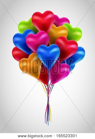 Flying bunch of multicolored balloon hearts. Happy Valentines Day. Vector holiday illustration