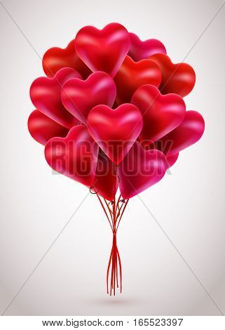 Flying bunch of red balloon hearts. Happy Valentines Day. Vector holiday illustration
