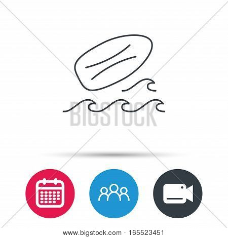 Surfboard icon. Surfing waves sign. Group of people, video cam and calendar icons. Vector