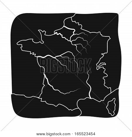 Territory of France icon in black design isolated on white background. France country symbol stock vector illustration.