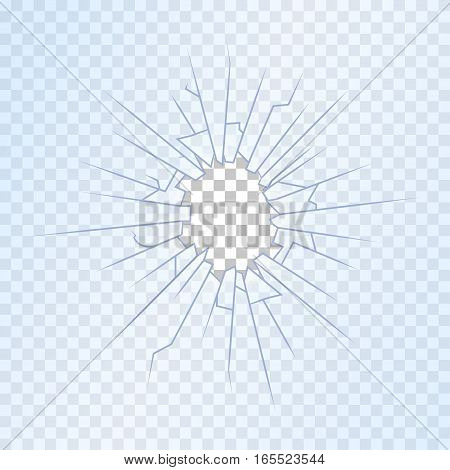 Broken Glass on Transparent Background Insurance Concept Sharp Fracture Symbol Crash, Destruction and Accident. Vector illustration