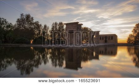 Sunset over the temple of Debod in Madrid. Spain