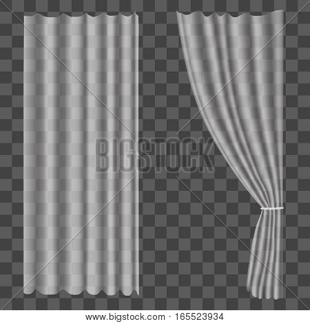 Realistic Tulle Curtains on Transparent Background Drapes for Decoration Window. Vector illustration