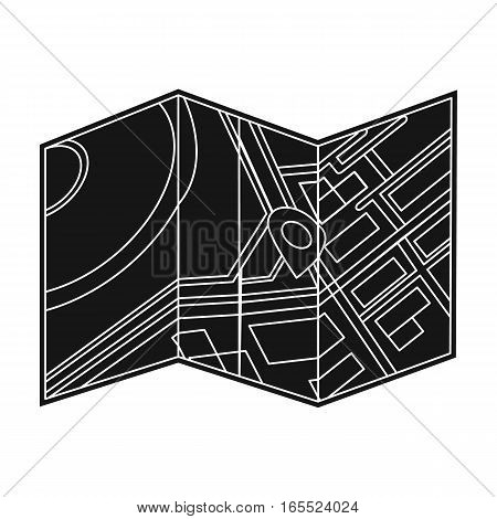 Travel map icon in black design isolated on white background. Rest and travel symbol stock vector illustration.