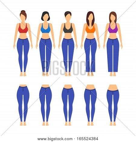 Blue Jeans Different Model and Fit for Women and Girl Flat Design Style. Vector illustration