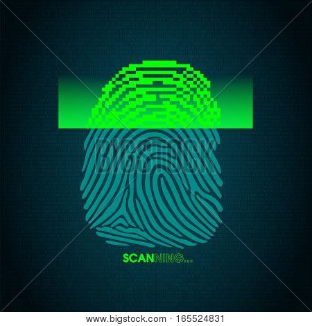 the process of fingerprint scanning - digital security system, the access control system data protection