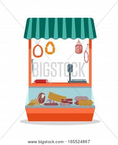 Cartoon Street Fresh Meat Store with Products Flat Design Style.. Vector illustration