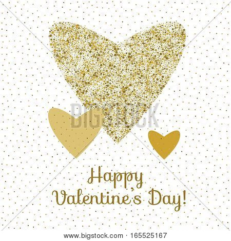 Three vector hearts in gold colors on white background. Happy valentines day card template