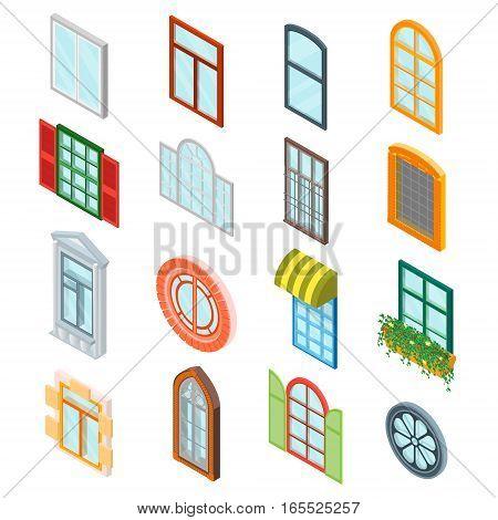 Glass Windows Set Decoration Building Construction Element Urban Street Architecture Isometric View. Vector illustration