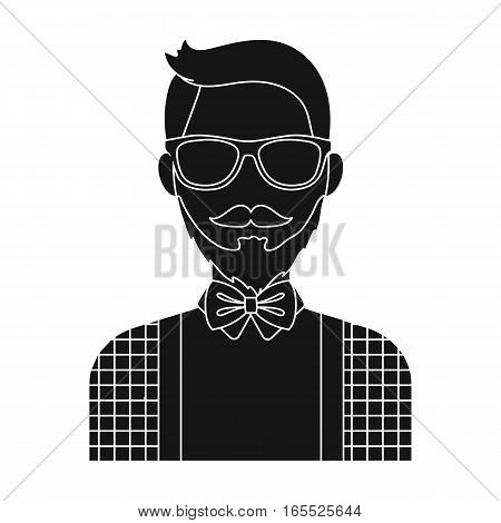 Hipster icon in black design isolated on white background. Hipster style symbol stock vector illustration.
