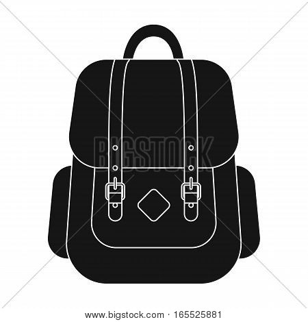 Hipster backpack icon in black design isolated on white background. Hipster style symbol stock vector illustration.