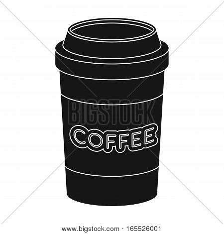 Disposable coffee cup icon in black design isolated on white background. Hipster style symbol stock vector illustration.