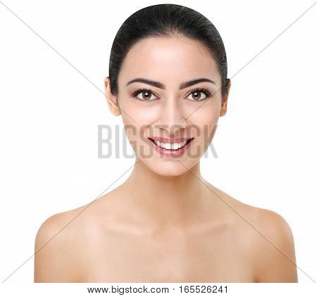 Beautiful smiling indian girl with perfect skin make up closeup. Beauty and health care. Ideal closeup portrait of brunette, isolated on white background