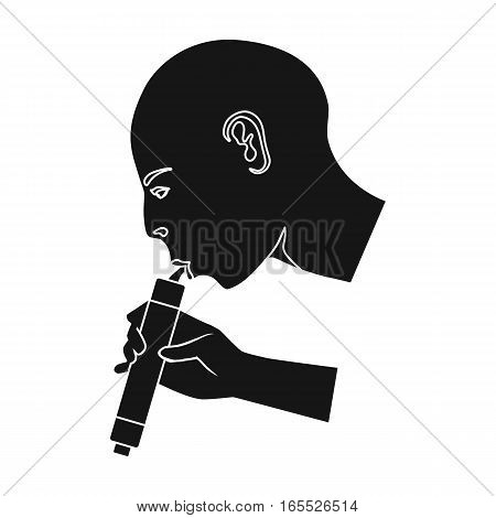 Man drink through compact filter icon in black design isolated on white background. Water filtration system symbol stock vector illustration.