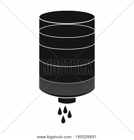 Water filter cartridge icon in black design isolated on white background. Water filtration system symbol stock vector illustration.