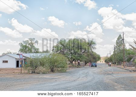 JAGERSFONTEIN SOUTH AFRICA - DECEMBER 31 2016: A street scene in Charlesville a suburb of Jagersfontein a diamond mining town in the Free State Province of South Africa