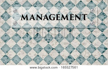 Abstract background with marble pattern and glass panel with the words management