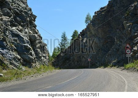 Mountain road in Chike-Taman pass. Altai. Summer