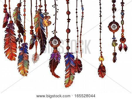 Background of textured feathers and crystals in aztec style