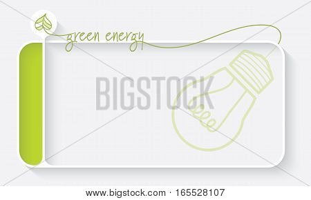 White text box for your text and theme of green energy